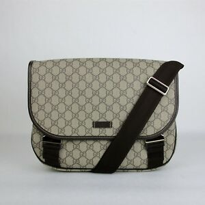 51d6b5f2e602 Gucci Beige/Ebony GG Plus Coated Canvas Messenger Bag with 2 Buckles ...