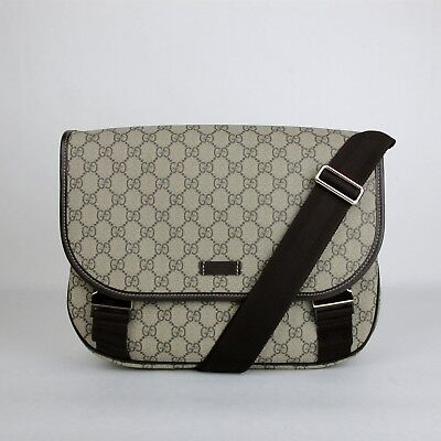 1a3951bda Details about Gucci Beige/Ebony GG Plus Coated Canvas Messenger Bag with 2  Buckles 201732 8588