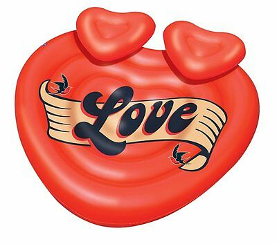 Swimline 90556 Giant Inflatable Heart Lover's Island Swimming Pool Lounge Float