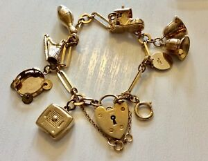 Beautiful-Quality-Ladies-Vintage-Solid-9CT-Gold-Charm-Bracelet-amp-Charms