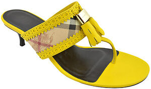 395-BURBERRY-jaune-carreaux-Haymarket-Sudeley-String-Sandales-Femme-Chaton-Talons