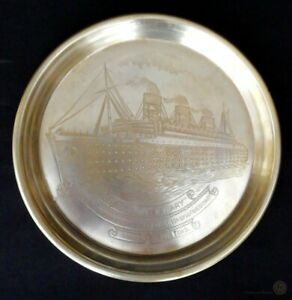 Vintage-Commemorative-Brass-Dish-Cunard-RMS-Queen-Mary-21cm-FREE-Delivery-UK