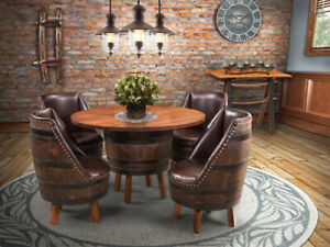 Amish Rustic 5 Pc Whiskey Barrel Dining, Dining Room Table Sets