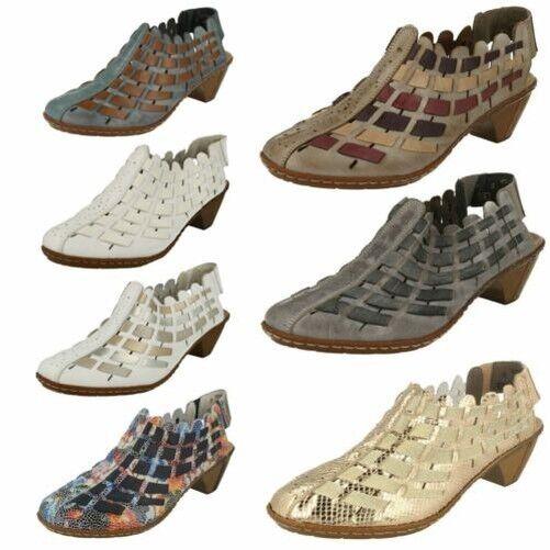 Damen Rieker Sling Schuhe mit Gewebtes Detail '46778'