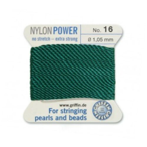 GREEN NYLON POWER SILKY STRING THREAD 1.05mm STRINGING PEARLS /& BEADS GRIFFIN 16