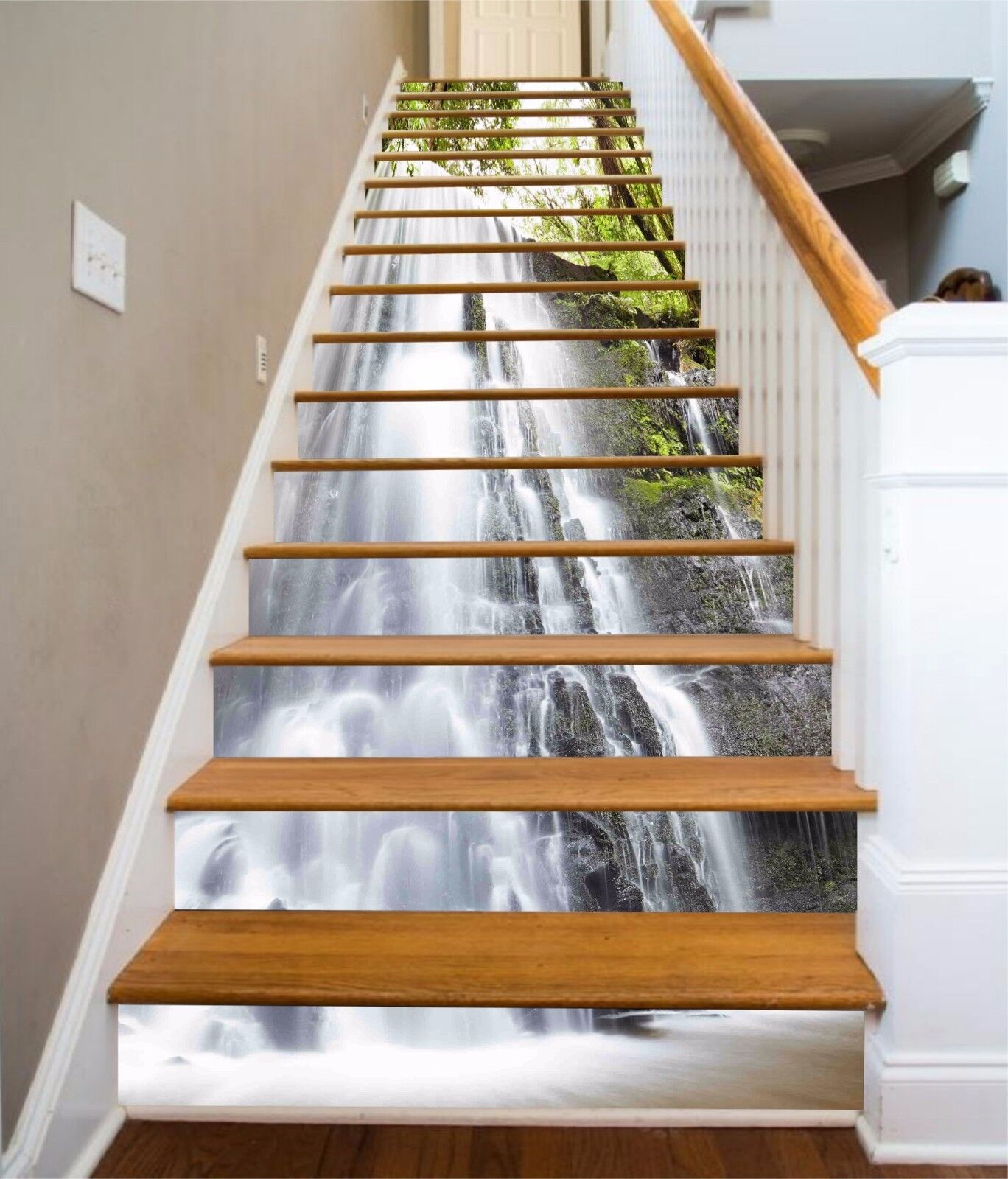 3D Cascade leaf 125 Stair Risers Decoration Photo Mural Vinyl Decal Wallpaper UK