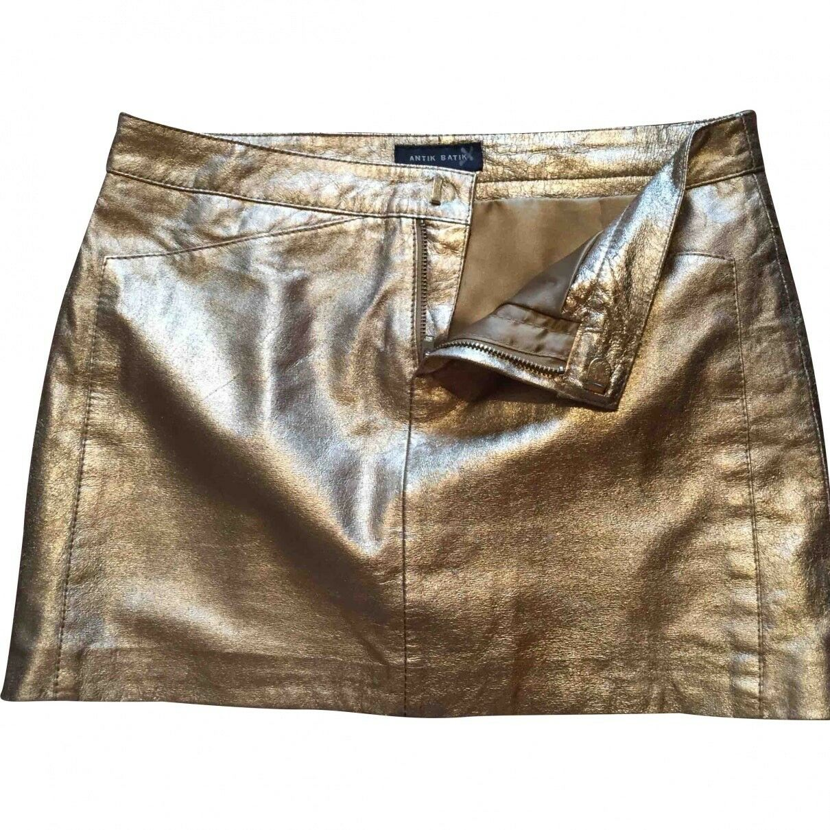 ANTIK BATIK Leather gold Mini Skirt Size 2