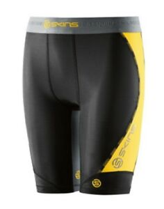Skins-DNAmic-Youth-Half-Tights-Black-Citron-FREE-AUS-DELIVERY-BUY-NOW