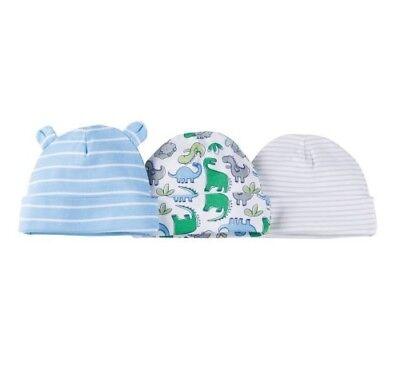 "6 NEW GERBER NEWBORN BABY BOY CAPS 0-6 M 0-16LB 0-26/"" Dinosaur"