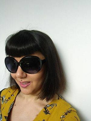 Grosses lunettes de soleil oversize branches monture noire rétro pinup | eBay
