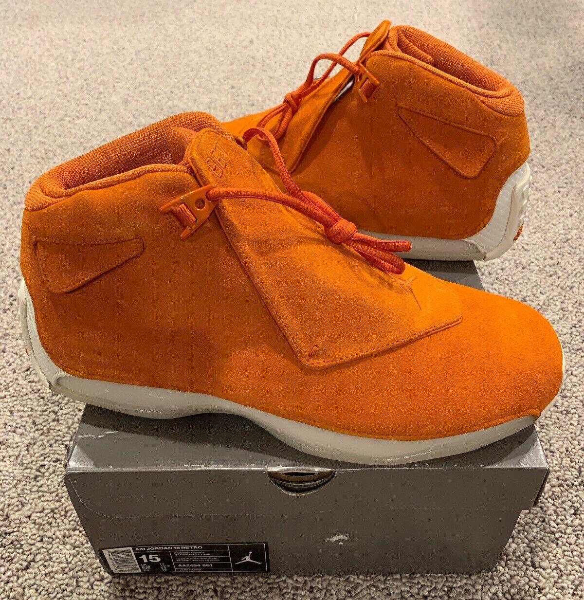 Nike Air Jordan Retro 18 XVIII Campfire orange Suede Size 15 New DS 2018 Sample