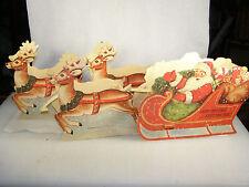 Vintage 1952 Cardboard Santa Claus, Sleigh & Reindeer Candy Holders Display