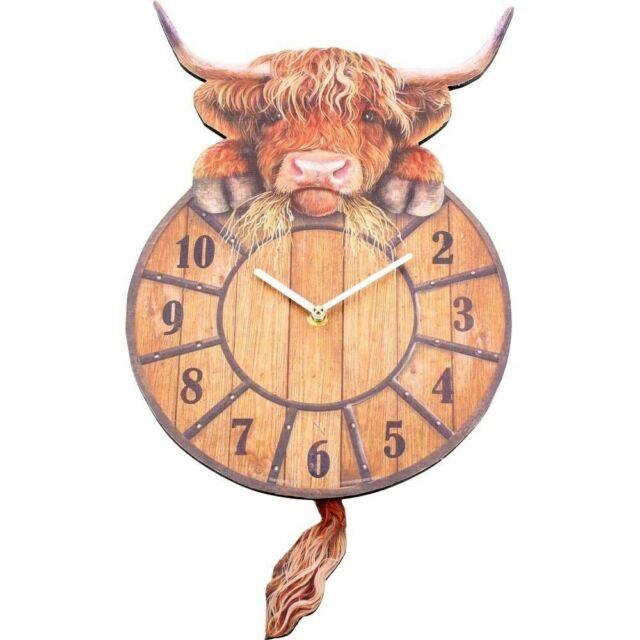 Nemesis Now Highland Tickin' Cow Pendulum Tail Animal Wall Clock