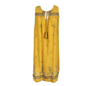 LOFT-Women-s-Mustard-Yellow-Dress-Sleeveless-Embroidered-Floral-Medium-Boho