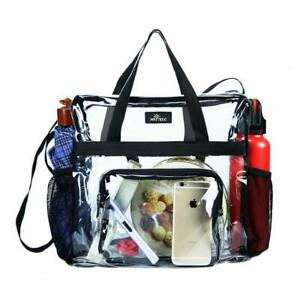 Details About Clear Tote Bag Stadium Roved Transpa For Work Sports Concerts Black