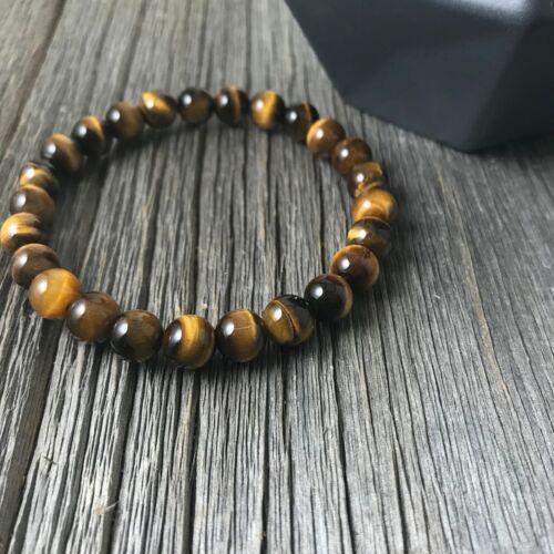 8MM Natural Tiger/'s Eye Stone Bracelet 10mm Big Yellow Round Bead Bracelet
