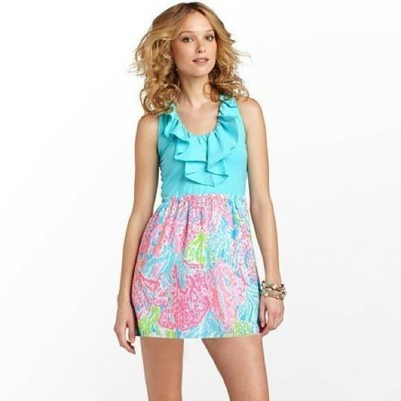 NWT Lilly Pulitzer Danita Dress L Turquoise Let's Cha Cha
