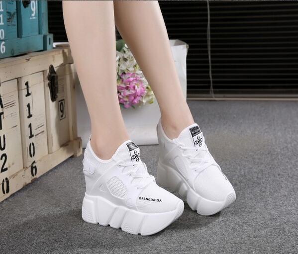 Hot Sale Womens Platform High Wedge Heel Creeper shoes Mesh Breathable Sneakers
