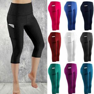 Womens 3//4 Capri Yoga Pants Gym Fitness Cycling Sports Cropped Leggings w Pocket