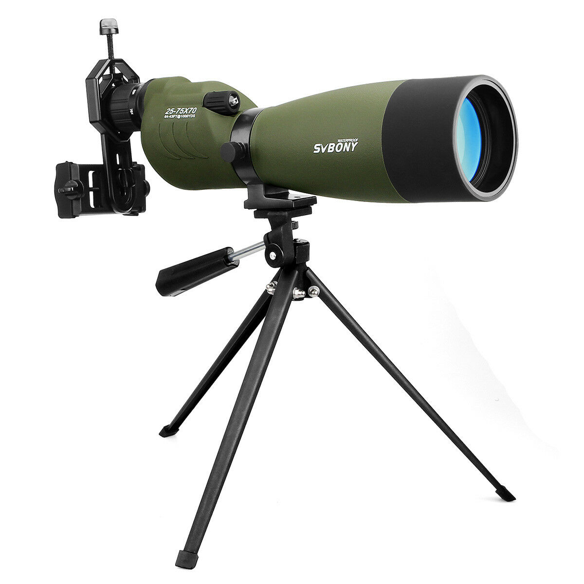 Svbony 25-75x 70mm Waterproof Straight Spotting Scopes for Hunting w/ Carry Case