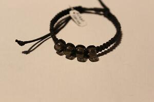 Armband Nylon schwarz mit Achat grau