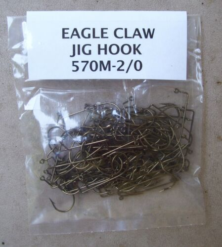Eagle Claw 2//0 Jig Hooks-Qty of 100 Style 570M-2//0 Bronze-Ships FREE!!