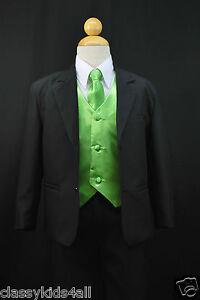 C2 BOY Formal Party Black Tuxedo Suit Green Vest /& Tie 1 2 3 4 5 6 7 8 10 12 14
