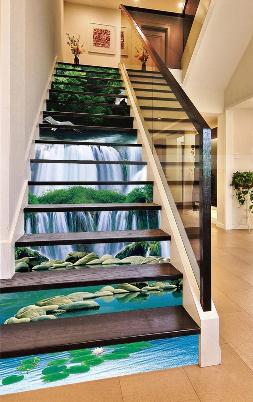 3D Waterfall stone5 Stair Risers Decoration Photo Mural Vinyl Decal Wallpaper UK