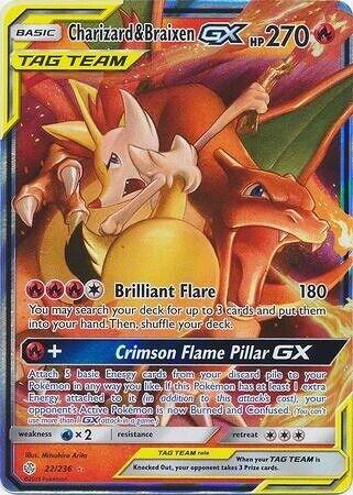 Charizard /& Braixen GX Ultra Rare Pokemon Cosmic Eclipse NM 22//236