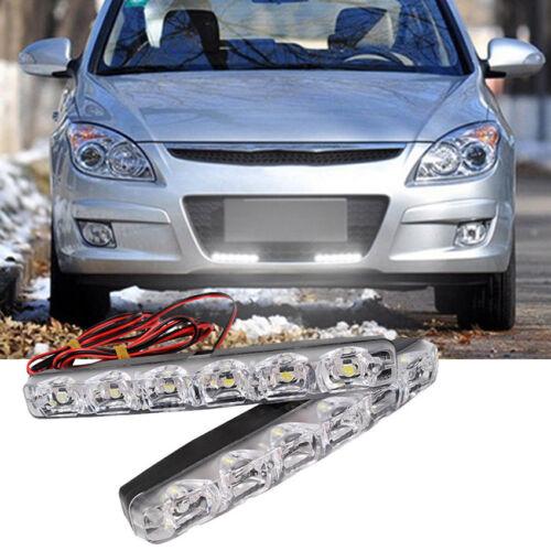 White 12V 6 LED Daytime Running Light DRL Car Fog Day Driving Lamp Lights Kit