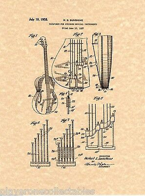 """Ready To Be Framed! Patent Print Epiphone /""""Scroll/"""" Bass Music Art"""