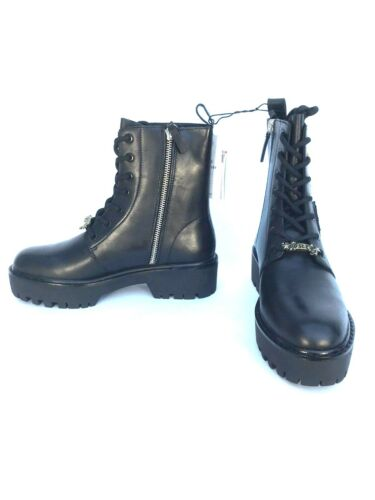 Military Ankle Boots Zara Ref Uk Leather Rrp Size 7 Black 5 101 £110 Patch 5158 gZIZEqAx