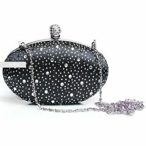 Stylish-Black-Diamante-Wedding-Ladies-Party-Prom-Evening-Clutch-Hand-Bag-Purse