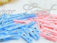 50 Small Clothes Pins Baby Shower Favors Pink Blue Party Decorations Girl Boy