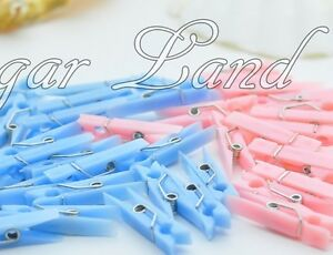 50 Small Clothes Pins Baby Shower Favors Pink Blue Party