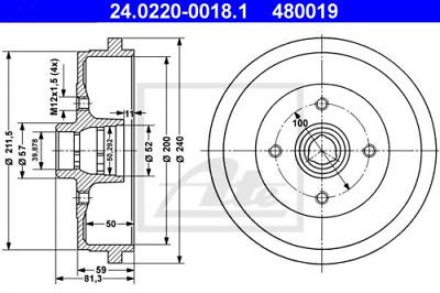 2x Bremstrommel NEU ATE 24.0220-3009.2