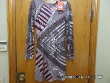 New w/Tag FARAH KHAN  Bahrain sequined mini long sleeve dress handcrafted sz S
