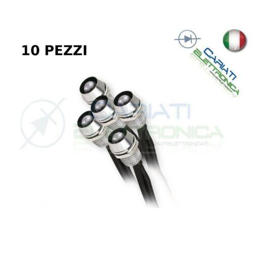 10 Led Bianco Bianchi 3mm Pronti Per l/'Istallazione 12V