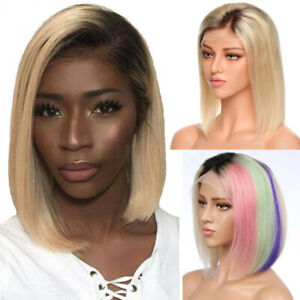 Ombre-Brown-Blonde-Lace-Front-Wig-Real-Human-Hair-Full-Wigs-Dark-Roots-Bob-Wig-P
