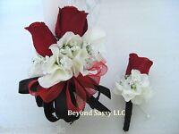 Wedding Prom Black Red Rose Silk Flower Wrist Pin On Corsage & Boutonniere Set