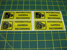 4 MOTORCYCLE CAMERA RECORDING STICKERS 55mm x 20mm