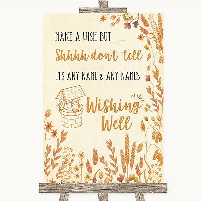 2019 Nieuwste Ontwerp Autumn Leaves Wishing Well Message Personalised Wedding Sign Tegen Elke Prijs