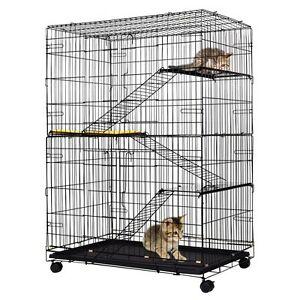 Pet 4 Tiers Playpen Cat Cage Kitten Rabbit Roomy House Play Lock Rolling Caster