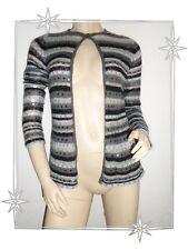 Magnifique Gilet Cardigan Gris Rayé Etincelle Couture Taille 2 - 38 / 40