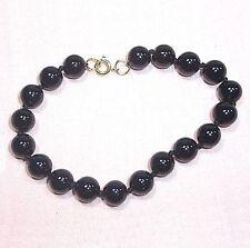 """Bracelet 8mm black glass beads knots 7.3"""" B10"""