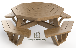 easy diy octagon picnic table design plans instructions for