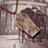 Brass Coffin Locket Poison Box Pendant Vampire Gothic Punk Goth Necklace F6
