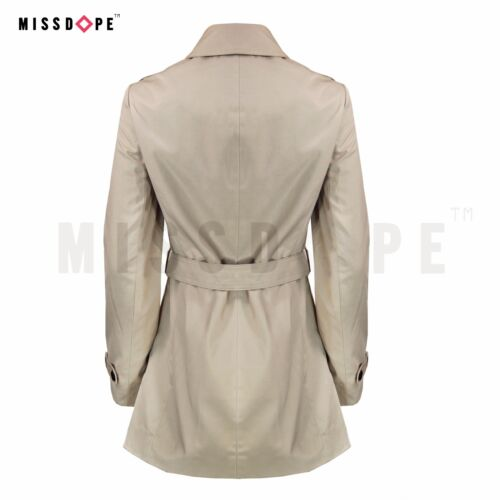NEW WATERPROOF BEIGE WOMENS MAC TRENCH COAT JACKET BELTED DOUBLE BREASTED LAPEL