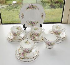 VINTAGE Adderley Cina fine motivo fiori 14 PZ tazze da tè Set PIATTINI PIATTI Brocca