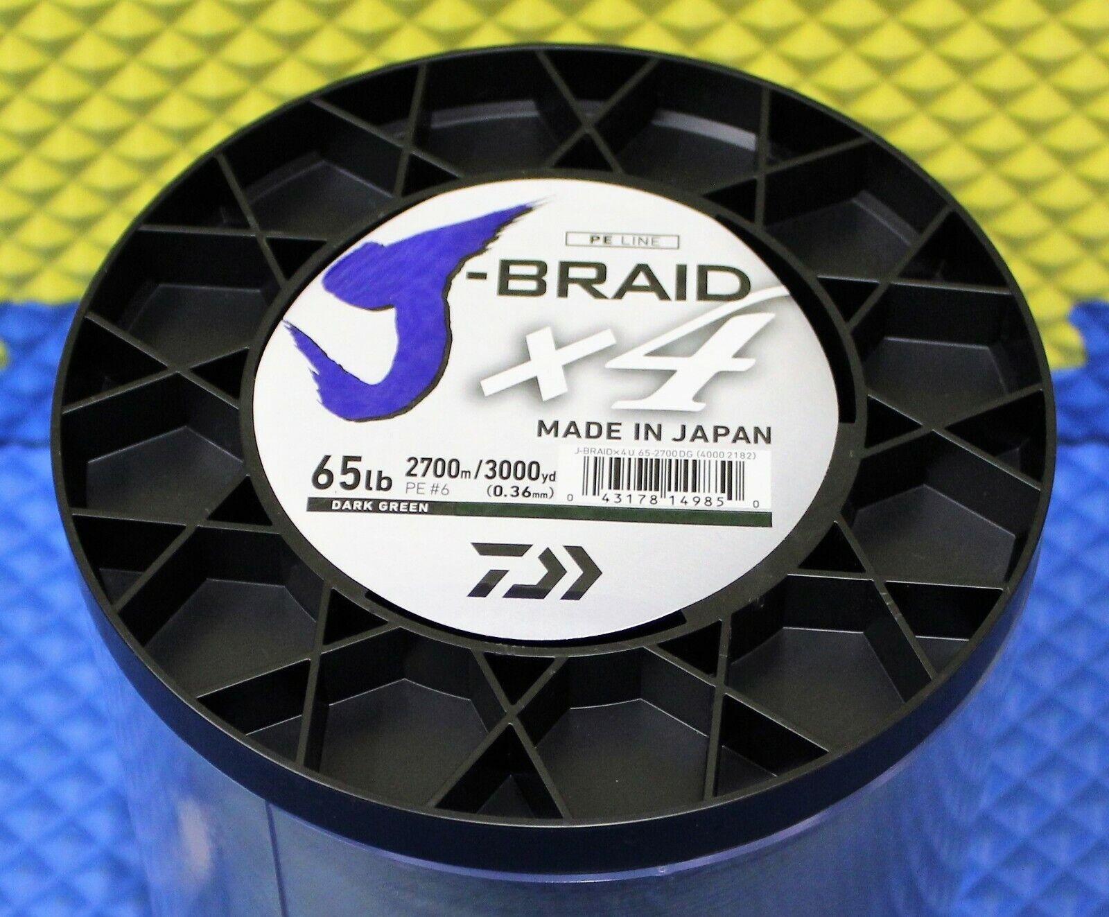 Daiwa J-Braid X4U 65-2700DG Dark Green 65lb 3000yd 4000-2182